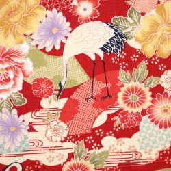 Red Japanese cotton fabric crane and flowers made in Japan width 110 cm x 1m