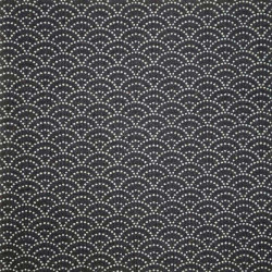 Black Japanese cotton fabric seigaiha sashiko patterns made in Japan width 112 cm x 1m