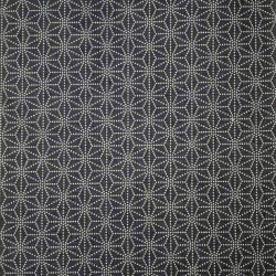 Black Japanese cotton fabric asanoha sashiko patterns made in Japan width 112 cm x 1m