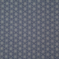 Blue Japanese cotton fabric asanoha sashiko patterns made in Japan width 112 cm x 1m