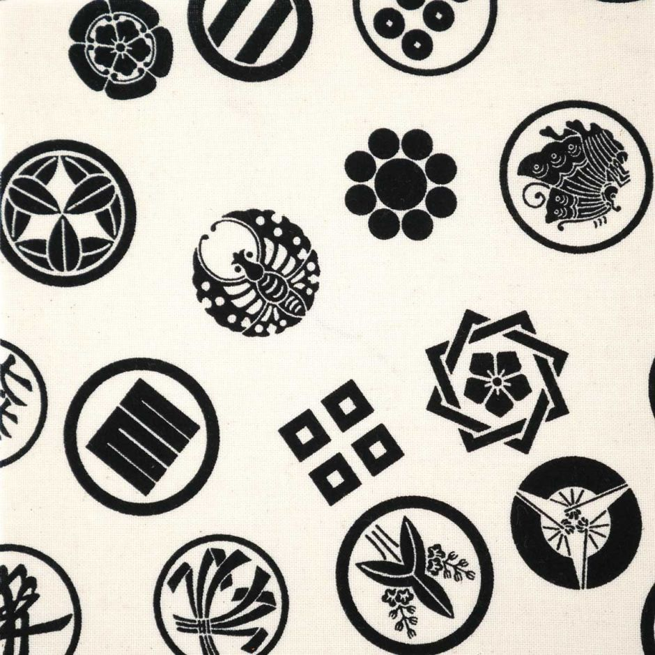 White Japanese cotton fabric emblems patterns made in Japan width 112 cm x 1m