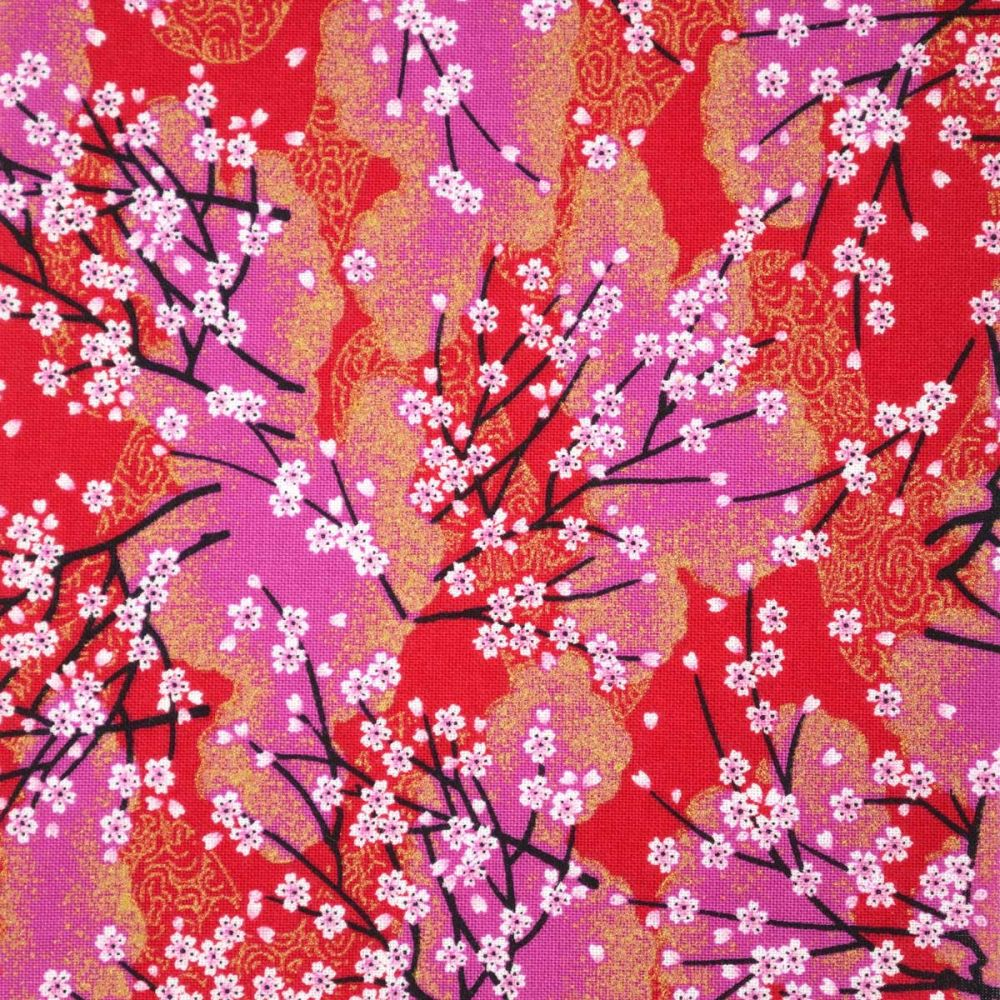 Red Japanese cotton fabric tree branches little flowers made in Japan width 112 cm x 1m