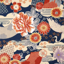 Blue Japanese cotton fabric crane and flowers made in Japan width 110 cm x 1m