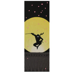 Japanese cotton towel TENUGUI, Moonlight Ninja