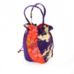 Japanese traditional purple kimono bag in polyester cotton, POUCH, various random patterns