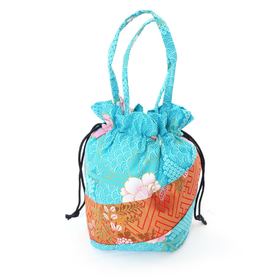 Japanese traditional turquois polyester cotton kimono style pouch