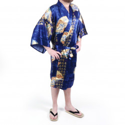 Japanese traditional blue happi kimono in silk folding fans for men