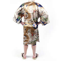 Japanese traditional blue happi kimono in silk dragon for men