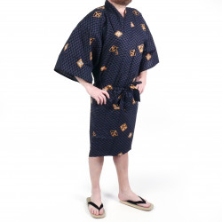 Happi traditional Japanese black cotton kimono with diamond patterns and kanji for men