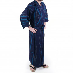 Yukata blue cotton Men YOROKESHIMA