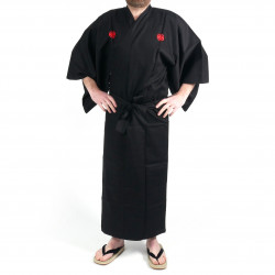 Japanese black kimono in cotton shantung samuraï golden kanji for men