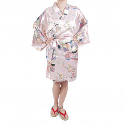 hanten traditional japanese pink kimono in polyester dynasty under the cherry blossom for women
