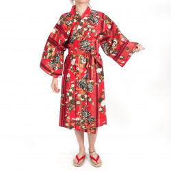 happi traditional japanese red cotton kimono floral chrysanthemums for women
