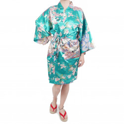 hanten traditional japanese turquoise kimono in polyester dynasty under the cherry blossom for women