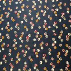 Japanese blue cotton fabric with owl motif, FUKURO, made in Japan width 112 cm x 1m