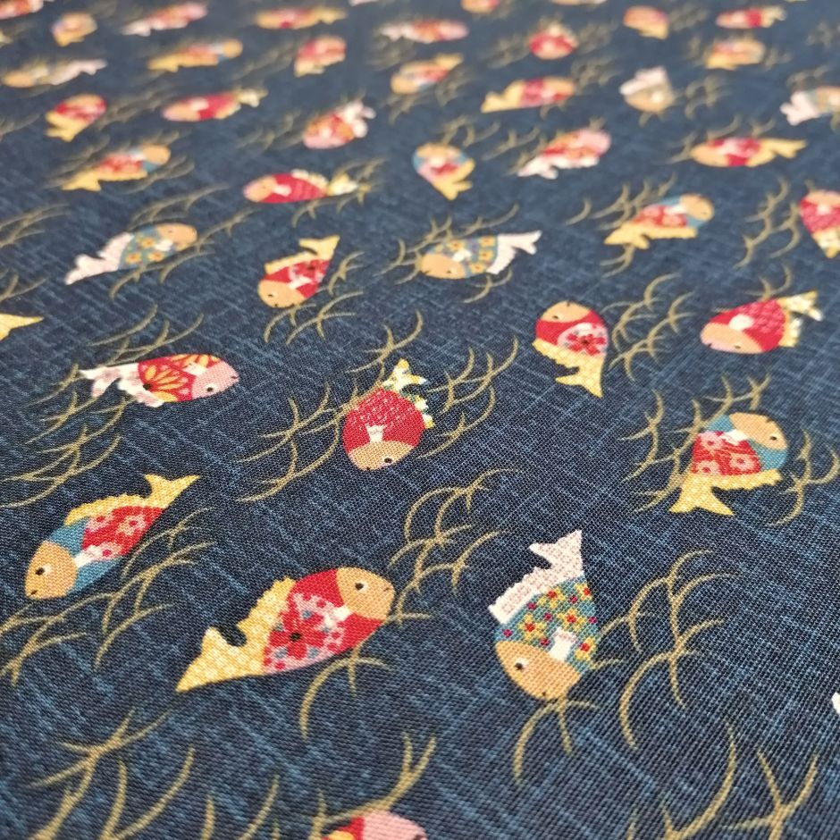 Japanese blue cotton fabric with fish motif, KINGYO, made in Japan width 112 cm x 1m