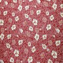 Japanese red cotton fabric with camellia pattern, TSUBAKI, made in Japan width 112 cm x 1m