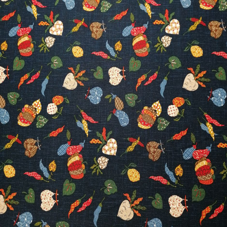 Japanese blue cotton fabric with vegetable motif, YASAI, made in Japan width 112 cm x 1m