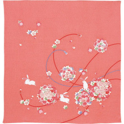 Japanese Furoshiki in Rayon Chirimen, KOYOMI, Rabbits and Flowers