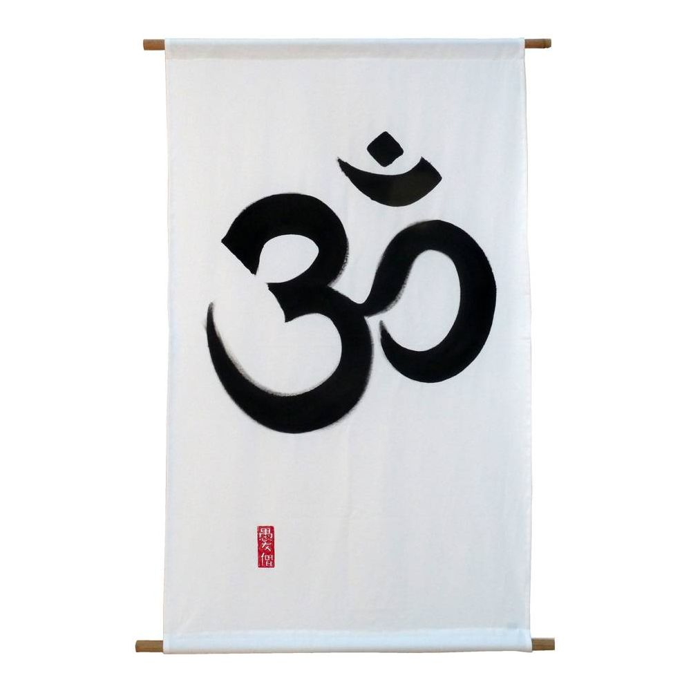 Hand painted cotton tapestry, OM