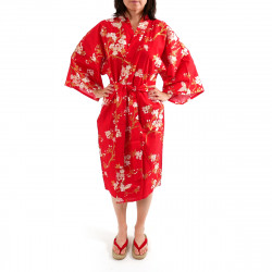 Japanese traditional red cotton happi coat kimono cherry blossoms and butterfly for ladies