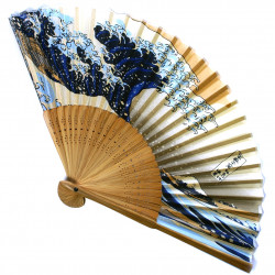 japanese fan made of silk and bamboo, NAMIFUJI, the big wave - Hosukai