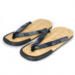 pair of waraji Japanese sandals in bamboo bark, WARAJI 029MB, blue