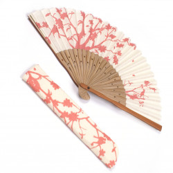 japanese fan in cotton and bamboo with fan case, SAKURA, pink