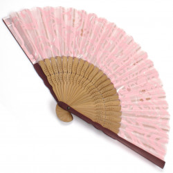 japanese fan made of silk and bamboo, SAKURA, pink