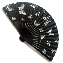 japanese fan in cotton and bamboo, CHO, butterflies