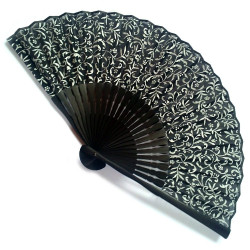 japanese fan in cotton and bamboo, KARAKUSA, black