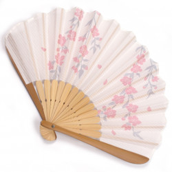 japanese fan in cotton and bamboo, SAKURA, pink