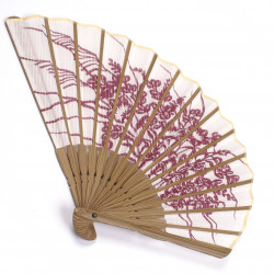 japanese fan in cotton and bamboo, KIKYO, pink