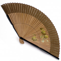 japanese fan in cotton and bamboo, HYOTAN, vines