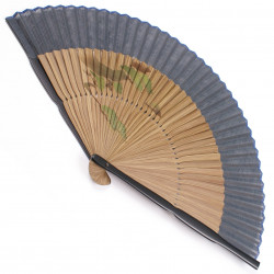 japanese fan in cotton and bamboo, MATSU-FUJI, Pines - Fuji