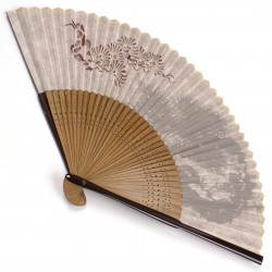 japanese fan made of silk and bamboo, MATSU, pine