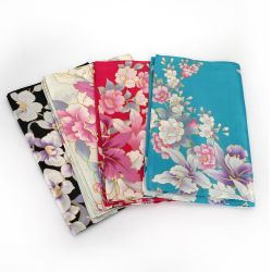 Japanese silk scarf with orchid pattern, RAN, color of your choice