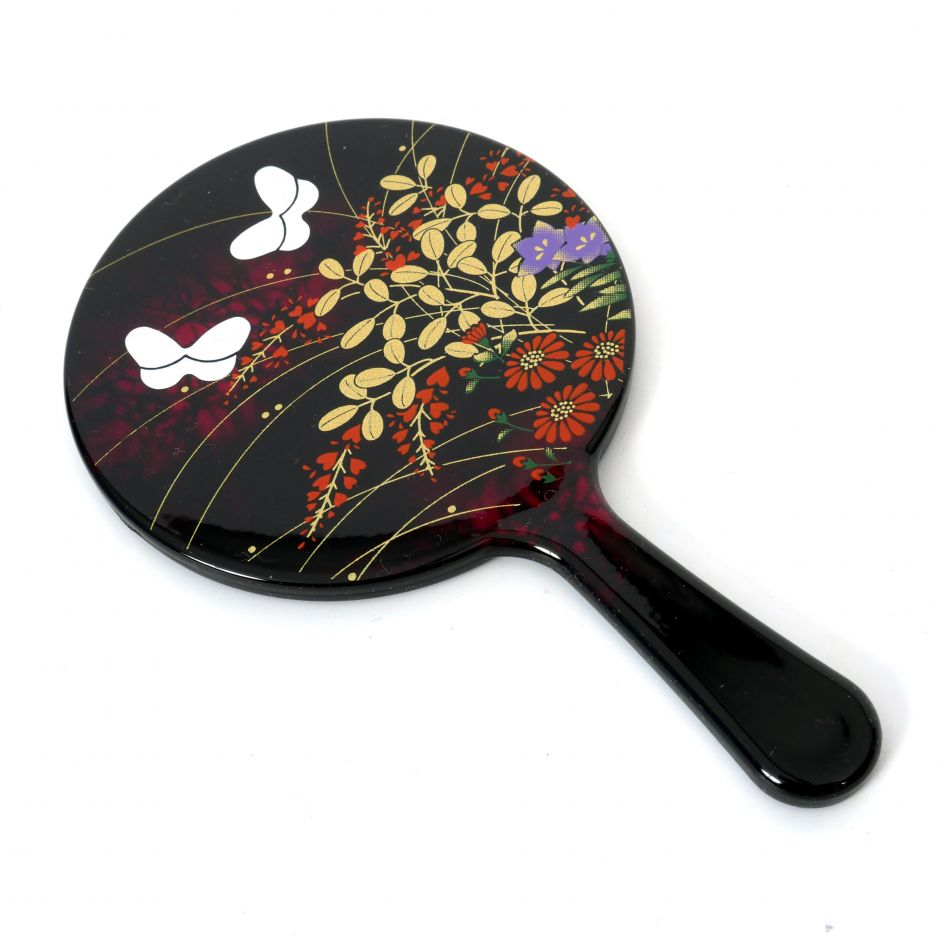 Small black Japanese resin mirror with flower and butterfly pattern, MIYABINO