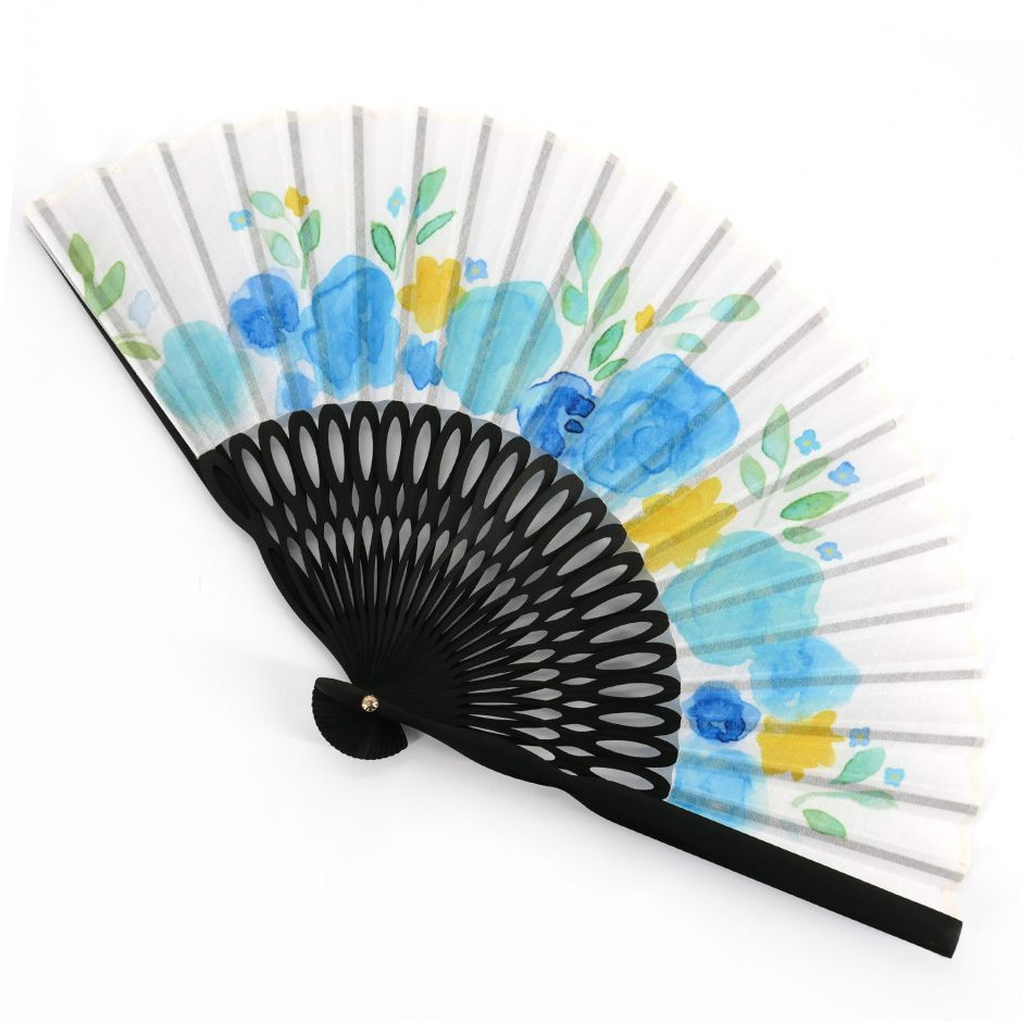 Japanese blue fan in polyester cotton and bamboo with floral pattern, HANA, 19.5cm
