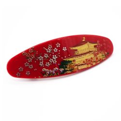 Japanese red hair clip in resin with golden temple pattern, KINKAKUJI, 10.5cm