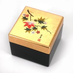 Japanese golden resin storage box with cherry blossom and maple leaves pattern, HANAICHIMONME, 8x8x6.5cm