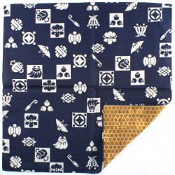 japanese furoshiki, TAKARADUKUSHI, blue and brown