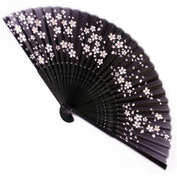 japanese fan - silk and bamboo - SAKURA, black