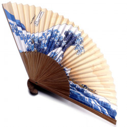 japanese fan made of paper and bamboo, NAMIFUJI, the big wave - Hosukai